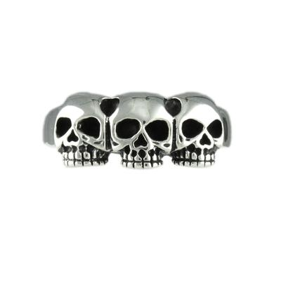 Wts Sterling Silver Skull Trio Ring