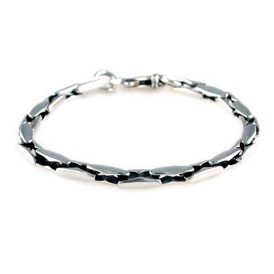 Wts Men's Smooth Sterling Silver Link Bracelet