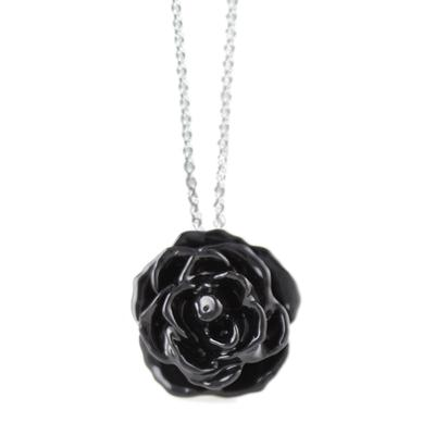 Small Black Rose Necklace