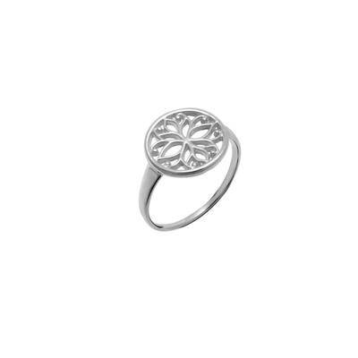 Boma Round Sterling Silver Lotus Chakra Ring