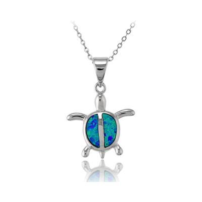 Blue Opal & Sterling Silver Turtle Necklace