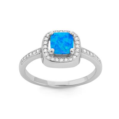Sterling Silver, Blue Opal & Cz Halo Ring