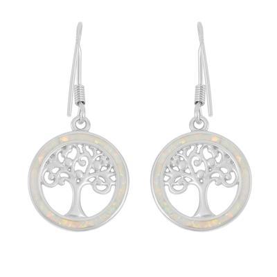 White Opal & Sterling Silver Tree Of Life Earrings