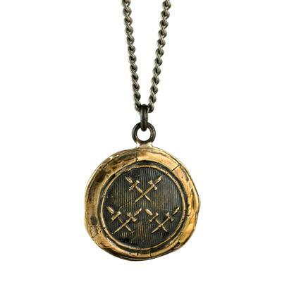 Pyrrha Bronze Crossed Daggers Talisman Necklace