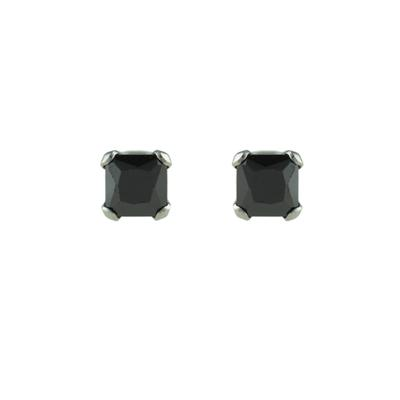 Inox Small Square Black Cz Studs