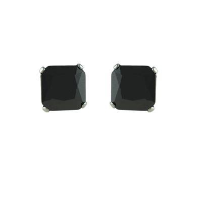 Inox Medium Square Black Cz Studs