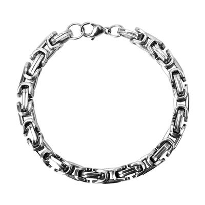 Inox Men's Stainless Steel Byzantine Chain Bracelet