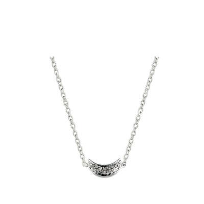 Elsa M Sterling Silver & Diamond Crescent Moon Necklace
