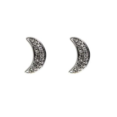Elsa M Sterling Silver & Diamond Crescent Moon Studs