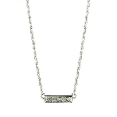 Elsa M Sterling Silver & Horizontal Diamond Bar Necklace