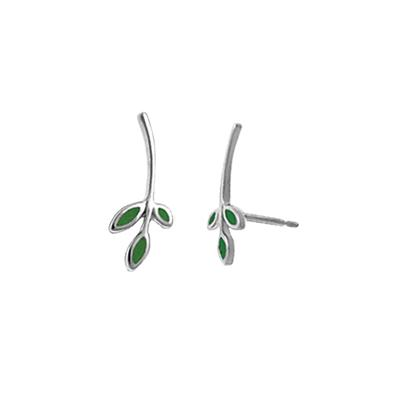 Boma Sterling Silver & Green Turquoise Leaf Ear Climber