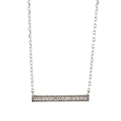 Sterling Silver & Cz Bar Necklace
