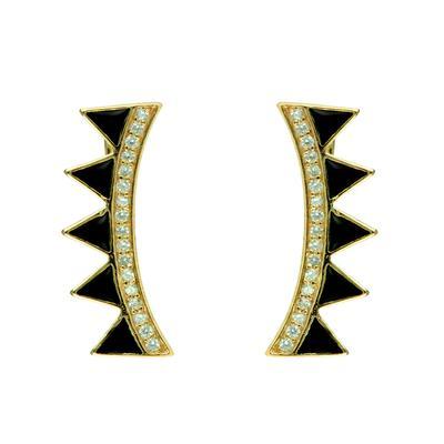 Gold, Cz & Black Enamel Ear Climber