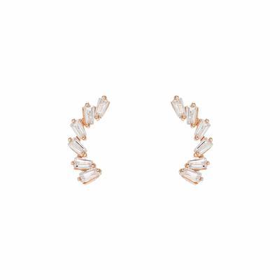 Rose Gold & Cz Baguette Ear Climber
