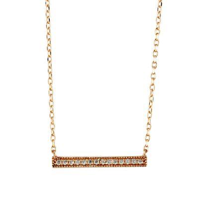 Rose Gold & Cz Bar Necklace