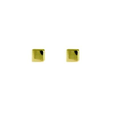 Gold Plated Sterling Silver Cube Studs