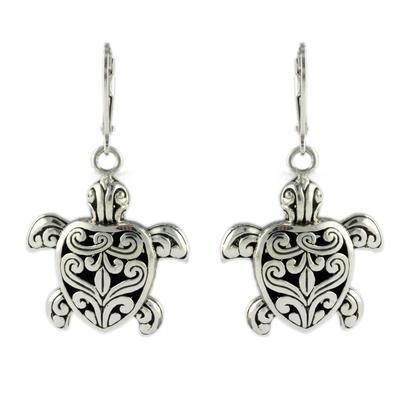 Indiri Sterling Silver Filigree Turtle Earrings