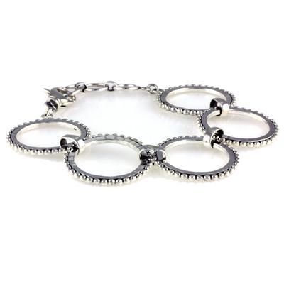 Indiri Braided Sterling Silver Beaded Rings Bracelet