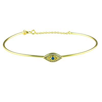 Cz, Blue Enamel & Gold Evil Eye Bangle