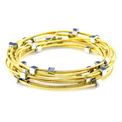 Set Of 10 Golden Yellow & Silver Metal Cube Guitar String Bracelets