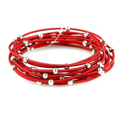 Set Of 12 Red & Silver Metal Guitar String Style Bracelets
