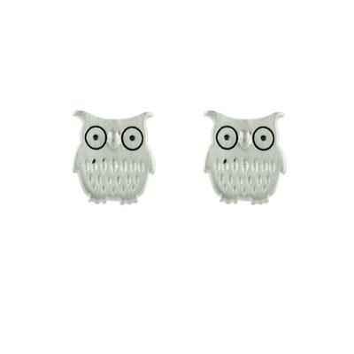 Tashi Brushed Sterling Silver Owl Studs