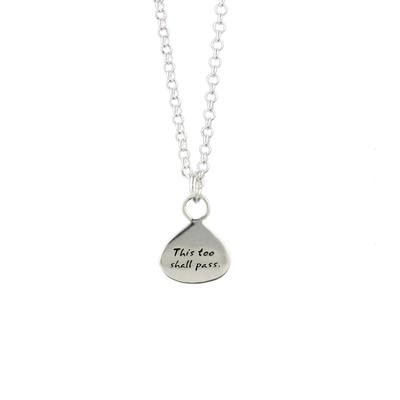 Kevin N Anna Sterling This Too Shall Pass - Time Braille Necklace