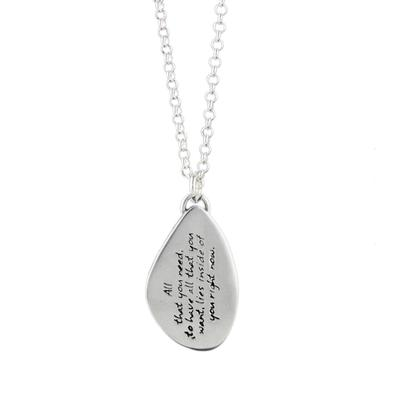 Kevin N Anna Sterling Silver All That You Need - Strength Braille Necklace