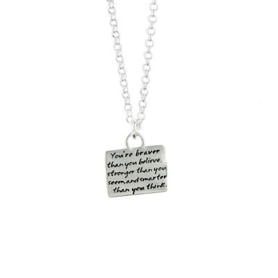 Kevin N Anna Sterling Braver Than You Believe - Courage Braille Necklace