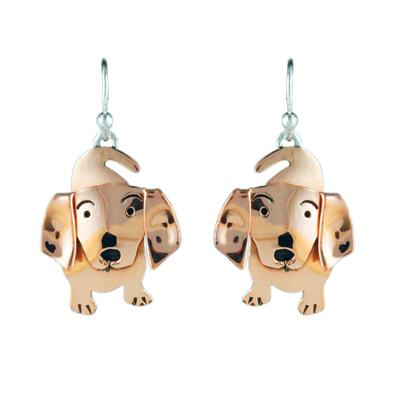 Far Fetched Copper Weiner Dog Earrings
