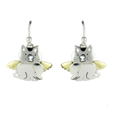 Far Fetched Sterling Silver Angel Kitty Earrings