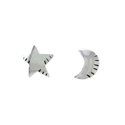 Far Fetched Sterling Silver Star & Moon Studs