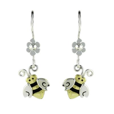 Far Fetched Sterling Silver Bumble Bee & Daisy Earrings