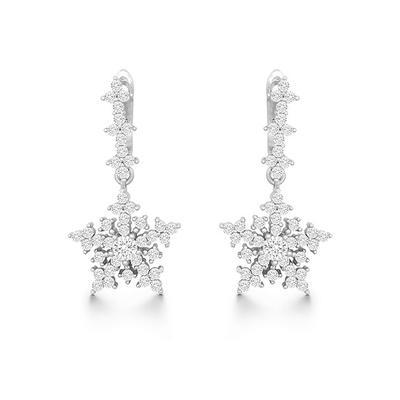 Sterling Silver & Cz Snowflake Earrings