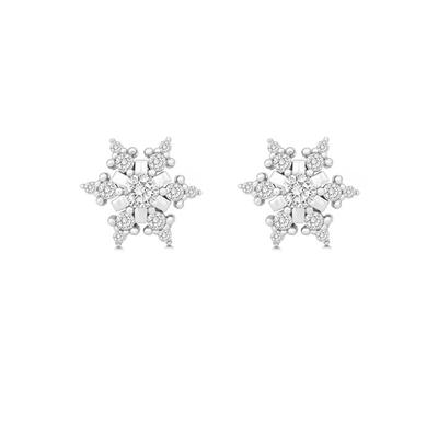 Sterling Silver & Cz Snowflake Studs