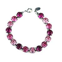 Krikor Round Rose, Fuchsia & Light Rose Swarovski Crystal Bracelet
