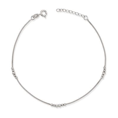 Sterling Silver Diamond Cut Bead Anklet