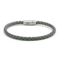 INOX Men's Slim Woven Grey Leather Bracelet