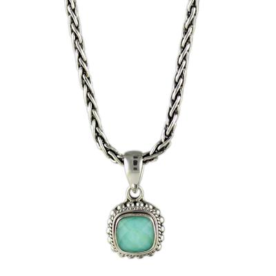 Indiri Sterling Silver, Green Quartz & Turquoise Doublet Necklace