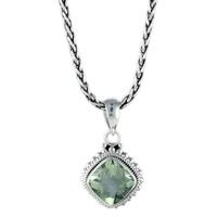 Indiri Sterling Silver & Green Amethyst Necklace