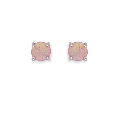5mm Prong Set Pink Opal & Sterling Silver Studs