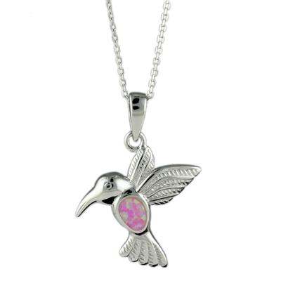 Sterling Silver & Pink Opal Hummingbird Necklace