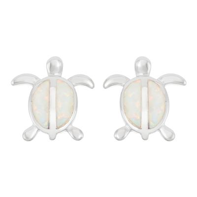 White Opal & Sterling Silver Turtle Studs