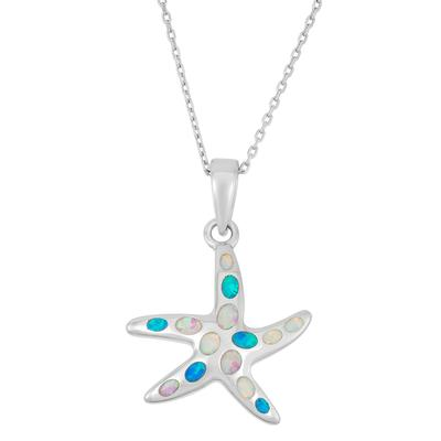 Multi Colored Opal & Sterling Silver Starfish Necklace