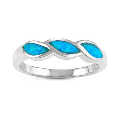 Sterling Silver & Blue Opal Twist Ring