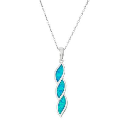 Sterling Silver & Blue Opal Twist Necklace