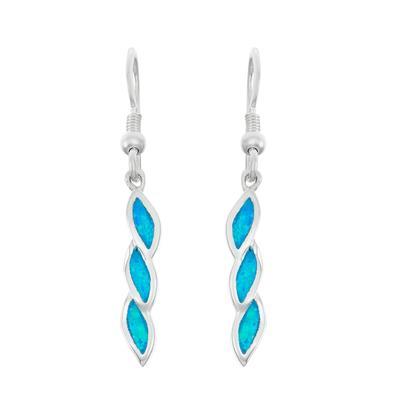 Sterling Silver & Blue Opal Twist Earrings