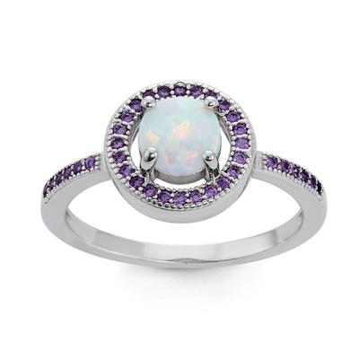 Sterling Silver, White Opal & Purple Cz Halo Ring