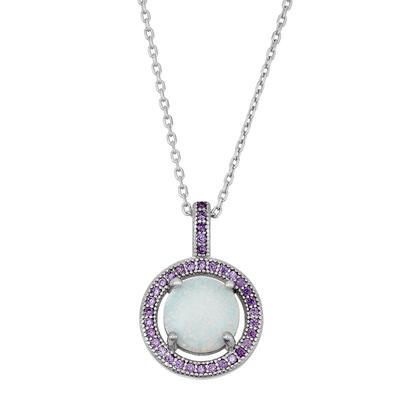 Sterling Silver, White Opal & Purple Cz Halo Necklace