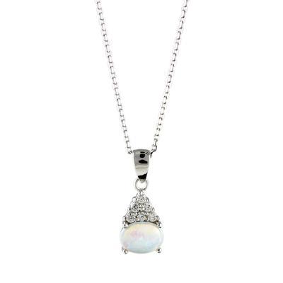 Sterling Silver, White Opal & Cz Cluster Neckalce